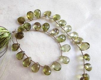 25% Off Sale Rare Natural Green Amethyst Briolette  Beads, 8mm Gemstone