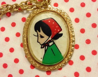 Vintage Japan Showa Era Retro Girl Rune Naito Pendant Necklace With Gold Tone Chain B