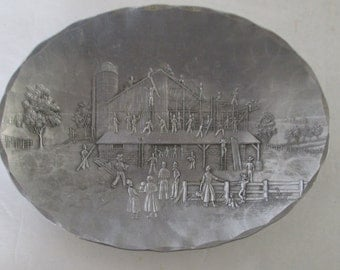 Wendell August Barn Raising Trinket Dishr Small Plate  aluminum