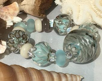 Handmade Lampwork Glass Beads SRA Sea Palm Blooms Encasement Florals (15)