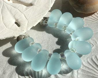Handmade Lampwork Glass Beads SRA Frosted Aqua Seaglass Teardrop Dangles (10)