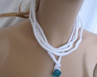White Boho Wrap Bracelet/Necklace (5288)