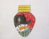 Red Christmas Lightbulb Snowman Handpainted Needlepoint Canvas Ornament