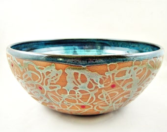 Large serving bowl, pottery bowl, Modern ceramics, blue wedding gift - IN stock (1SB I)