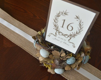 Decorative Wedding Table Card with Olive Wreath Detail