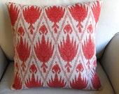 Beautiful CORAL ikat pillow cover 18x18 20x20 22x22 24x24 26x26