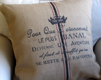 FRENCH Country CREST pillow cover 20x20 22x22 24x24 26x26 burlap color