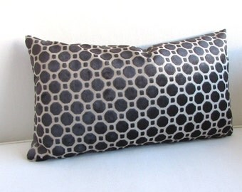 VELVET  PILLOW in black 12x18 12X20 12X22 12X24 includes insert