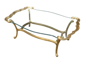 Summer Sale Regency La Barge Solid Brass & Glass Top Coffee Table