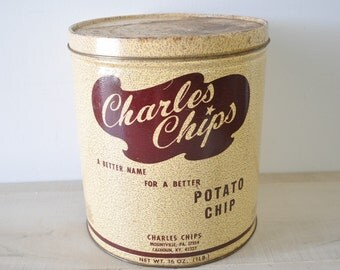 1950s vintage Charles Chips Potato Chip tin can / vintage kitchen / vintage display / 50s decor