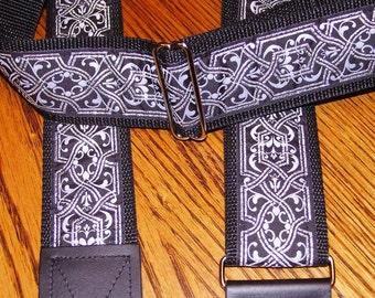 GUITAR STRAP in Fancy Black & Silver Renaissance Embroidered Trim