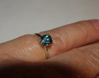 Teal Blue Topaz Solitaire Ring in Sterling Silver, size 6 3/4
