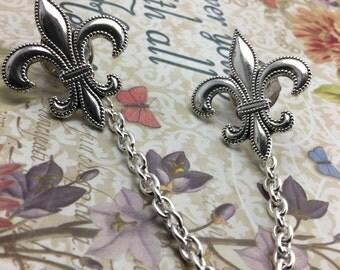 Fleur de lis Sweater clips Cardigan clips collar clips Silver sweater guard French cardigan clips