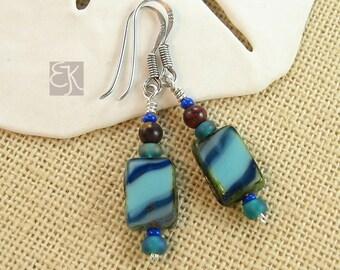 Czech Glass Earrings, Blue Czech Glass Dangle Earrings, 925 Sterling Silver Gemstone Dangle Earrings, Blue Dangle Earrings, Gift for Her