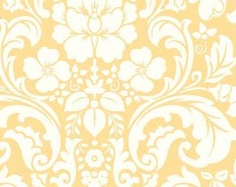 Henry Glass Damask Pastel Yellow Blushing Fabric