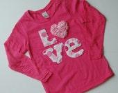 hand stitched valentine shirt.  show your love.