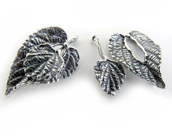 Leaf Toggle Clasp - Silver color - One clasp set