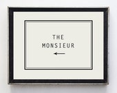 French Vintage Style Fine Art Print // Monsieur // wall art // gifts for him // minimalist decor // typography // wall sign // this way