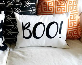 Modern BOO! pillow cover - fits a 12 x 16 pillow form