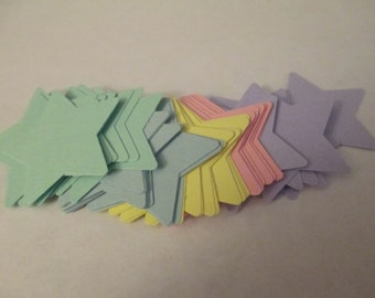 50 Pastel Star Cut Outs Scrapbooking Craft Supplies