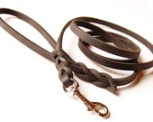 6 foot long Traditional Lead: Premium Leather Leash in BLACK, choice of width size