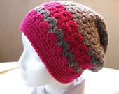 Crocheted  Striped Hat in Pink and Gray Buy 1 Give 1