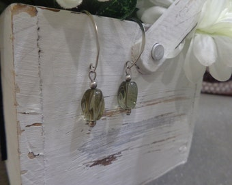 Smoky grey dangle earrings
