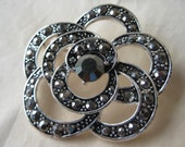 Flower Marcasite Stone Brooch Silver Vintage Pin