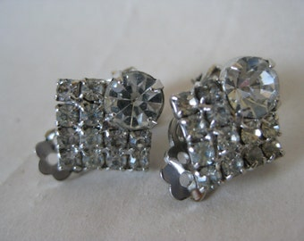 Clear Silver Rhinestone Earrings Clip Vintage