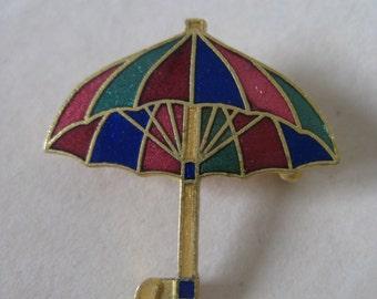 Umbrella Green Blue Pink Pin Brooch Gold Enamel Vintage