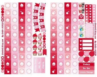 Planner Stickers, NEW VALENTINES, Feb. Checklist Sticker, Free Planner Calendar, Weekend Sticker, Flag Stickers, Feb. Sampler