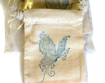 6 Muslin Bags, Blue Exotic Butterfly, Gift Bags, Packaging, 3x4 Inches, Hand Stamped, Party Favor Bags