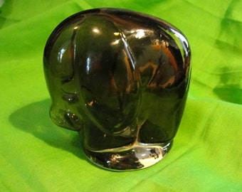 Vintage Lefton smoky gray glass elephant figurine or paperweight