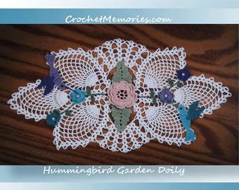 0774 Hummingbird Garden Doily Crochet Pattern