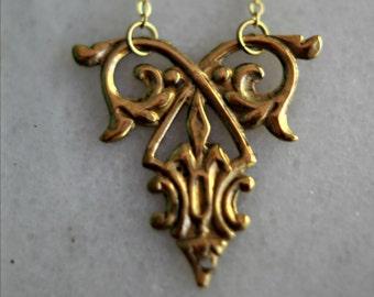 Ornate Gold Brass Necklace