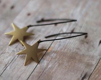 50% Off Star Burst Earrings, Gold Stars on Long Matte Black Ear Wire Dangles , Celestial, Space , Gift Box