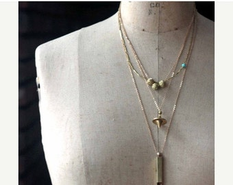 October Sale Layering Necklaces, Minimal, Gold Brass, Modern Pendants, Whistle, Layered, Sparkly, Orb Pendulum