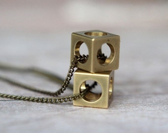 Industrial Cubes Pendant Set  Geometric Machine Cut Raw Brass Cubes  Brass Chain  Squares, Circles  Gift Box