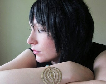 Gold Circles Bracelet, Crop Circles Cuff, Hammered Brass, Metallic Teal Leather Cord, Concentric Circles, Unisex, Gift Box