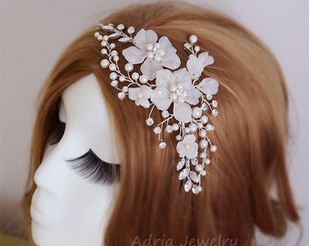 Flower Wedding Headband Bridal Headpieces Gold Headband Crystals Pearls Wedding Hair Pieces Flowers Vines Bridal Hair Accessory