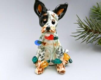 Australian Cattle Dog Christmas Ornament Figurine Lights Porcelain
