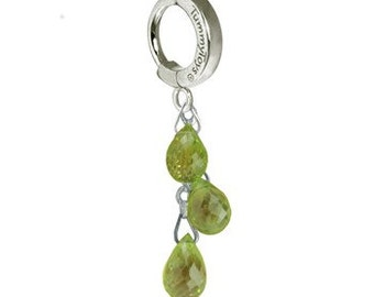 Solid Platinum Belly Button Ring with 3 Natural Peridot Chain Drop Exclusively by TummyToys (58005)