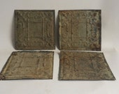 AUTHENTIC Tin Ceiling Set of 4 Tile Panel Taupe 6x6 Crafters Projects 2678-16i