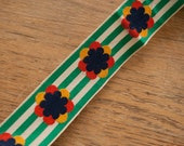 3 yards Cool Striped Floral - Vintage Fabric Trim Embroidered New Old Stock Green Yellow Navy Blue Green