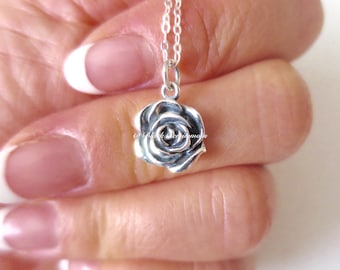 A Little Rose Necklace - Solid 925 Sterling Silver Flower Charm - Insurance Included