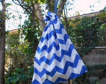 Small drawstring bag, blue & white zigzags, small cotton gift bag, toy bag