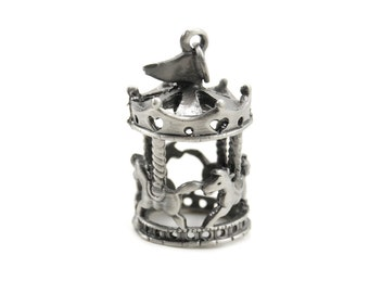 Miniature Carousel Pendant in Antiqued Silver-Toned Pewter with Top Loop