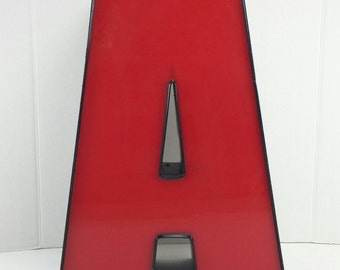 Vintage Industrial big red and black plastic and Metal Sign Letter A