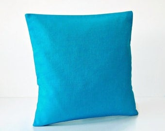 16 inch azure bright blue cushion cover, solid accent decorative pillow cover 40 cm