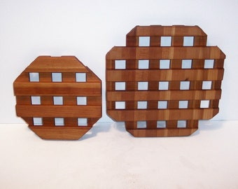 Wood TRIVETS - Set of 2--Handcrafted from Cherry Hardwood